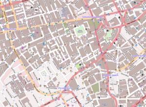 Kaart van de wijk Soho in Londen.
