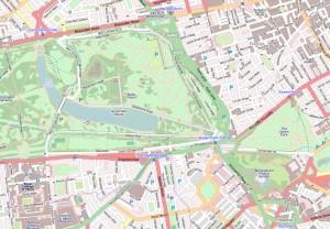 Kaart van Hyde Park, park in Londen.